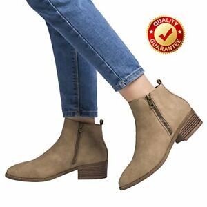 Luoika Ankle Boots For Woman, Chunky Block Stacked Heels Round Toe Short Ankle