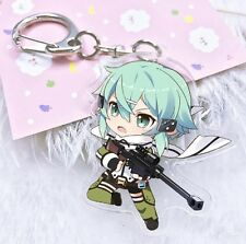 Sword Art Online Anime SAO Chibi SINON Acrylic Keychain Charm Art Figure Pendant