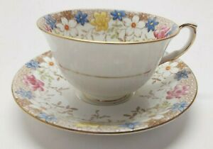 Taylor and Kent Bone China England Tea Cup and Saucer Floral Pattern #6738