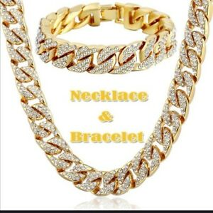 18K Yellow Gold Filled Artificial Diamond Mens Necklace and bracelet  Chain