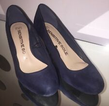 Navy Blue Suede Court Shoes Size 5