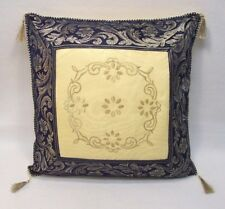 """Square French Country Embroidered Decorative Throw Pillow Tassels Gold Blue 16"""""""