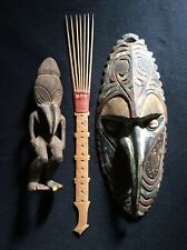 PAPUA NEW GUINEA ANTIQUES -Carved Wood Figure -Mask -Bamboo Comb -OLD ESTATE LOT