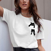 Cotton Cat Print Women T shirt Short Sleeve Tshirt Female O-neck Loose Tops Tees
