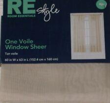 "Sheer Tan Voile Window Panel 63"" Curtain"