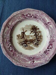 G Wooliscroft Mulberry Brown Transferware Plate England