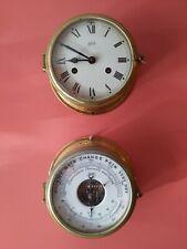 Vintage German Schatz Brass Ship's Clock and Barometer