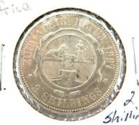 .1897 SOUTH AFRICA 2 SHILLINGS SILVER COIN.