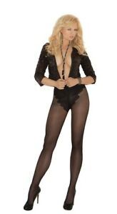 BNWT Elegant Moments Sheer French Cut Tights (1715) Black One Size