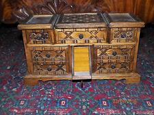 VINTAGE SOLID OAK JEWELRY MUSIC BOX