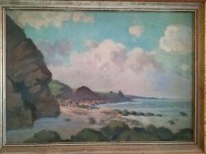 Tableau huile sur toile Pierre Edmond Peradon (1893-1981 ) Port en Bessin