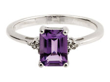 STERLING SILVER RING WITH EMERALD CUT AMETHYST  AND DIAMOND  SIZE P