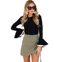 Flare Sleeve Women Blouse Slim Ruffle Casual Black Shirts Elegant Ladies Top New