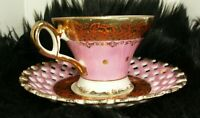 Tea Cup Saucer LM Royal Halsey Very Fine mbh Rare Antique. Pink and Gold trim.
