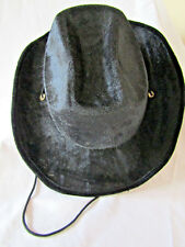 Black Velour Cowboy Hat Fancy Dress Wild West with Cord