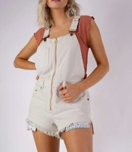 Free People Sunkissed Shortalls Women's 8 Overall Shorts Off White NWT $108