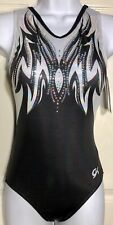 Gk Leotard Adult Small Feathered Wings Black Foil Gymnastics Dance Tank As Nwt!