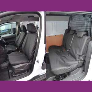 Ford Transit Connect 2014-18 Waterproof Front (NoArmrest) Rear Black Seat Covers