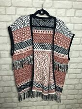 TOPSHOP LADIES CARDIGAN / BODY WARMER KNIT AZTEC / NORDIC / TASSLES SIZE M