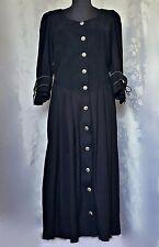 AUTHENTIC FOLK LINE TYROL OKTOBERFEST DIRNDL BLACK WOMEN DRESS-SIZE:US 14/EU 42