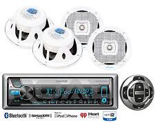 "4 White 6.5"" Marine Speakers, Kenwood Marine Bluetootg USB CD Radio/Wired Remote"