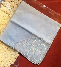 Great Vintage Blue Linen w/ Rose Embroidered Pullwork Wedding Hankie Madeira?
