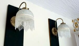 PAIR OF VINTAGE MOTTLED GLASS FRINGE ANTIQUE BRASS WALL LIGHTS ART DECO TIFFANY