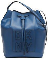 DKNY TILLY Blue STACK DRAWSTRING LOGO BUCKET Crossbody Handbag