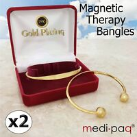 2x Magnetic Arthritis Bangle Health Torque Bracelets 24kt Gold-Plated Pain
