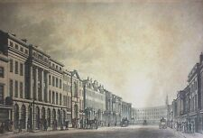 THE NEW STREET - LOOKING towards the quadrant - 1822 kolorierter Stahlstich