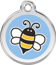 Bumble Bee Blue Enamel/Solid Stainless Steel Engraved ID Dog/Cat Tag