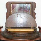 Vintage Wood Framed Mirror w  Drawer   Vanity Shaving Stand Dresser Table Top