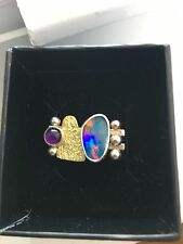 Artisan Crafted Sterling Silver Opal and Amethyst Ring 8