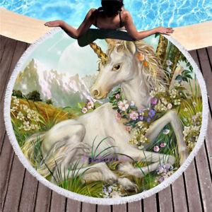 Unicorn Floral Soft Cotton Blend Terry Velour 150cm Round Beach Towel Throw