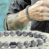 Men Women Natural Stone 8mm Lava Rock Bracelets Elastic Yoga Beads Bracelet Gift