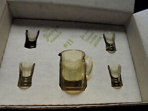 Mosser Glass, Jennifer Set Yellow Cameo Miniature Pitcher, Tumblers, Mint In Box