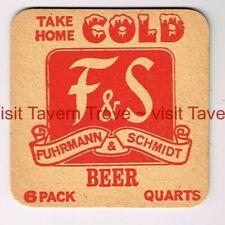 "1960s ""Cold"" PA Shamokin F&S FUHRMANN & SCHMIDT PREMIUM BEER 3¼"" Tavern Trove"