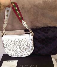 GUCCI White Leather Gold Grommet Stud Pelham Lady Bag Red Green Web Marmont