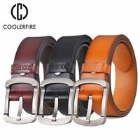 Genuine Cowhide Leather Men Belt Vintage Casual Fashion Jeans Strap Metal Buckle