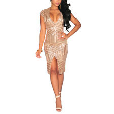 Short Sleeve Deep V-Neck Sequin Split Bodycon Backless Cocktail Party Mini Dress