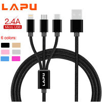 1.2m Universal 3 in1 Multi USB Charger Charging Sync Cable iPhone Android Phones