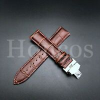 20MM LEATHER WATCH STRAP BAND DEPLOYMENT BUCKLE FOR OMEGA SPEEDMASTER BROWN