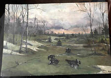 Vintage painting Watercolor unknown artist 1921 Russia Spring Capercaillie