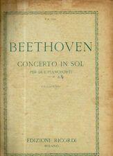 SC7 SPARTITO  Beethoven Concerto in sol Op. 58 per due pianoforti -Ricordi