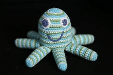 Pebble. 6� Blue Green Knit Octopus Plush Toy Doll Rattle