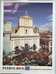 """The Shining Star of the Caribbean"" Puerto Rico Vtg Travel Poster (22 x 29) Rare"