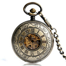 Luxury Double Hunter Pocket Watch Vintage Bronze Hand Wind Mechanical Skeleton