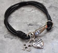 Real Black Leather Wristband Bracelet w/ Autism Puzzle and Awareness Charms Gift