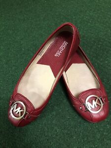 MK Fulton Flat Red Leather Shoes Size 7M