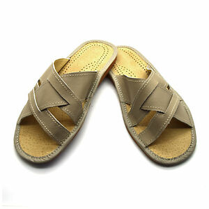 Mens Leather Slippers Slip On Shoes Sandals Size 6 7 8 9 10 11 12 UK Beige
